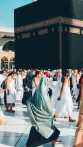 muslims praying around the kaaba which was built by prophet ibrahim