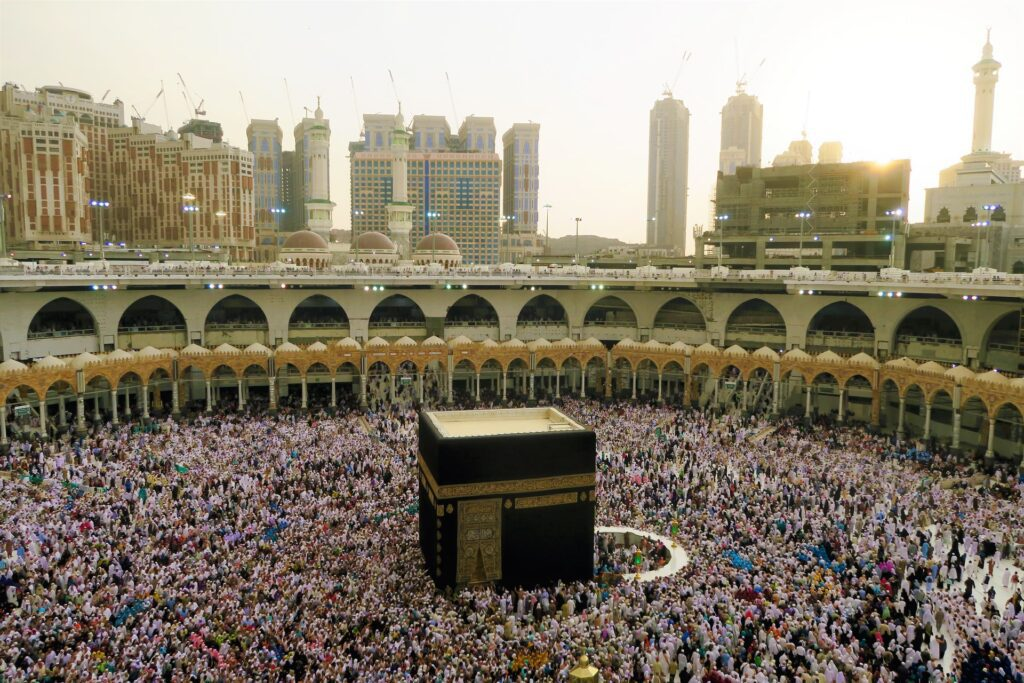Pilgrims performing Hajj around the Kabaa