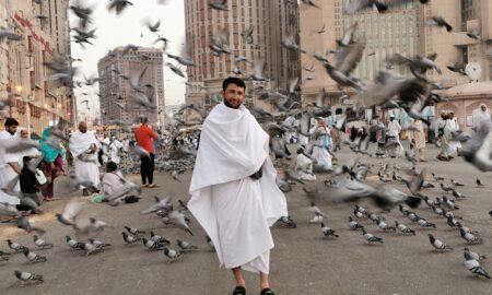 Muslim man wearing ihram