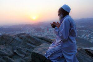 Pray and recite muslim man praise Allah