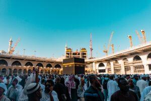 while on umrah and hajj muslims perform tawaf around kaaba